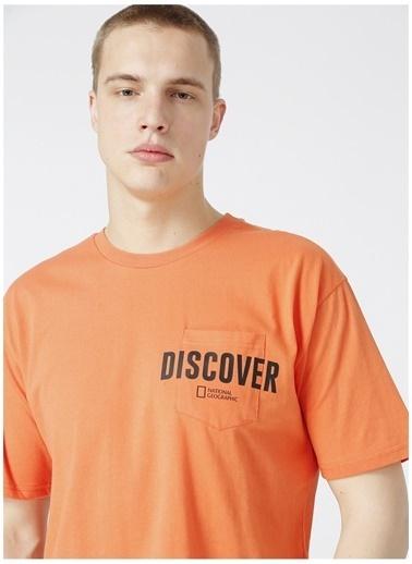 National Geographic National Geographic Erkek Turuncu Bisiklet Yaka T-Shirt Oranj